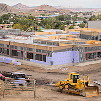 A large expansion to Jefferson Elementary School takes shape during construction in Gallup Wednesday.