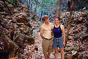 Jack Menzel and friend Susanna in the Ventana wilderness at the Julia Pfeiffer Burns State Park in Big Sur, California. MODEL RELEASED.
