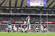 Courtney Lawes of England (white) winis a lineout from Jonny Gray of Scotland during the RBS 6 Nations match at Twickenham Stadium, Twickenham<br /> Picture by Andrew Tobin/Focus Images Ltd +44 7710 761829<br /> 14/03/2015