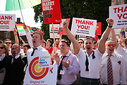 The moment when it is announced that the Same Sex Marriage bill had been passed. London Gay Chorus and supporters of the bill celebrate outside the House of Lords. The campaign for the bill has lasted decades. Summary of the Marriage (Same Sex Couples) Bill 2012-13 to 2013-14<br /> A Bill to make provision for the marriage of same sex couples in England and Wales, about gender change by married persons and civil partners, about consular functions in relation to marriage, for the marriage of armed forces personnel overseas, and for connected purposes.