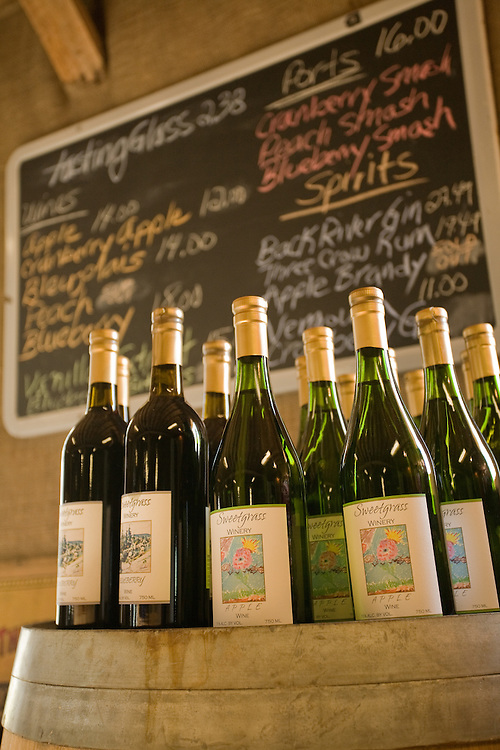 Wine on display, Sweetgrass Winery, Union, Maine.