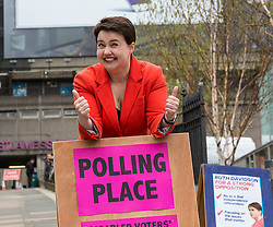 Conservative & Unionist Leader, Ruth Davidson votes at Camino Cafe in Edinburgh with her partner Jen Wilson