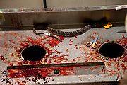 SWEETWATER, TX - MARCH 14: The snake skinning table at the 51st Annual Sweetwater Texas Rattlesnake Round-Up, March 14, 2009 in Sweetwater, Texas. Approximately 24,000 pounds of rattlesnakes will be collected, milked for venom and the meat served to support charity. (Photo by Richard Ellis)