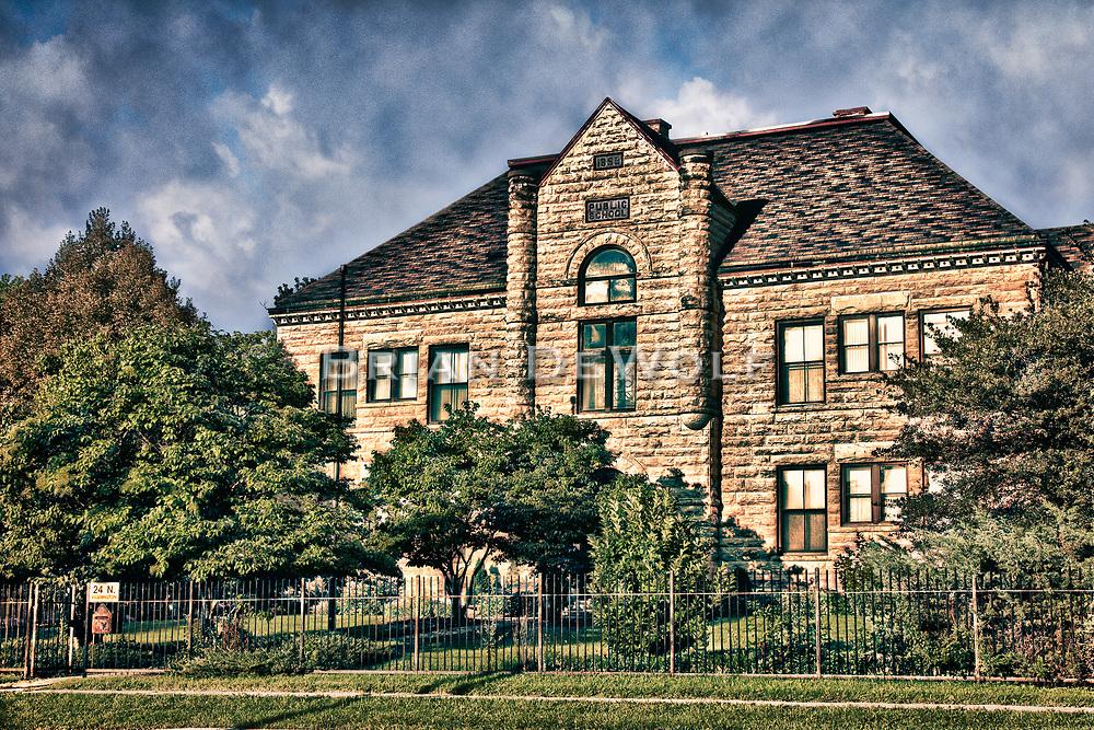 Artistic rendering of the original Louise White School in Batavia, Illinois.