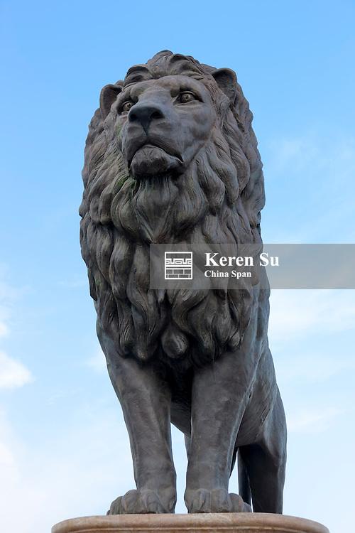 Lion statue on Goce Delchev Bridge, Skopje, Republic of Macedonia, Europe