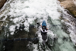 An athlete competes during the Kayak Single (K1) Women race in Semifinal of European Open Canoe Slalom Cup on April 18, 2021 in Tacen, Ljubljana, Slovenia. Photo by Vid Ponikvar / Sportida