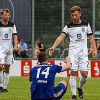 01.08.2020, C-Team Arena, Ravensburg, GER, WFV-Pokal, FV Ravensburg vs SSV Ulm 1846 Fussball, <br /> DFL REGULATIONS PROHIBIT ANY USE OF PHOTOGRAPHS AS IMAGE SEQUENCES AND/OR QUASI-VIDEO, <br /> im Bild Shake Hands nach Spielende, Philipp Altmann (Ravensburg, #14) und Albano Gashi (Ulm, #7)<br /> <br /> Foto © nordphoto / Hafner
