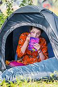 Henham Park, Suffolk, 20 July 2019. Getting ready for the day ahead. The 2019 Latitude Festival.
