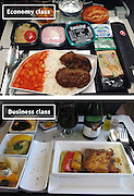 Airline Food: Economy Vs. First Class <br /> <br /> What used to be a woman's size 12 in 1968 is a woman's size 4 today; what used to be third-class is economy-class today. What changed? We've grown more sensitive: I'm not overweight, I still fit into a size 12. I'm not a third-class passenger, I'm a price conscious individual that rides in economy-class.<br /> Despite the name games, airline food hasn't changed much. Economy class meals still come in a wrapper, and business or first-class meals come with real cutlery. This list shows the sometimes striking difference between what the different classes eat.<br /> <br /> Photo shows: Turkish Airlines<br /> ©Exclusivepix Media