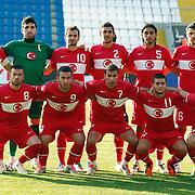 Turkey's players (Left to Right) (Front Row) Kagan SOYLEMEZGILLER, Adem BUYUK, Abdulaziz SOLMAZ, Omer BAYRAM, Saban OZEL (Back Row) (Left to Right)  Aykut DEMIR, goalkeeper Firat KOCAOGLU, Murat DURUER, Veysel SARI, Kemal TOKAK, Aykut AKGUN during their international friendly soccer match Turkey A2 betwen Lebanon A2 at Kasimpasa Recep Tayyip Erdogan stadium in Istanbul June 01, 2011. Photo by TURKPIX