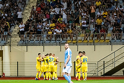Players of NK Domzale celebrating goal during Football match between NK Domzale and Malmo FF in Second Qualifying match of UEFA Europa League 2019/2020, on July 25th, 2019 in Sports park Domzale, Domzale, Slovenia. Photo by Grega Valancic / Sportida