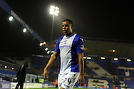 Birmingham city's Tom Adeyemi, scorer of the 3rd goal, walks off at end of match. Capital one cup 3rd round match, Birmingham city v Swansea city at St.Andrews in Birmingham on Wed 25th Sept 2013. pic by Andrew Orchard, Andrew Orchard sports photography.