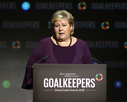 Prime Minister Erna Solberg of Norway speaks during the Goalkeepers Global Goals Awards at Jazz at Lincoln Center in New York.