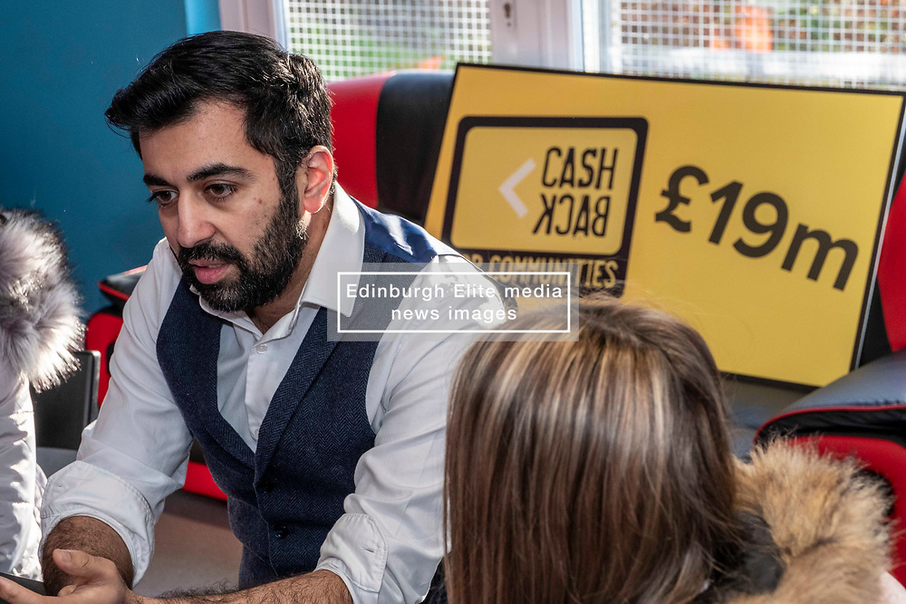 Pictured: Humza Yousaf<br /> <br /> Justice Secretary announces Cashback for Communities<br /> funding. Justice Secretary Humza Yousaf visited Mayfield & Easthouses Youth 2000 Project in Edinburgh and announced the recipients of the latest round of Cashback for Communities funding. Mr Yousaf met with young people involved in the Y2K project - a referral-based service, focusing on early support and prevention for young people involved in or at risk of becoming involved in offending, anti-social and risky behaviours - and took part in a group discussion and art activities<br /> <br /> Ger Harley | EEm 22 January 2020