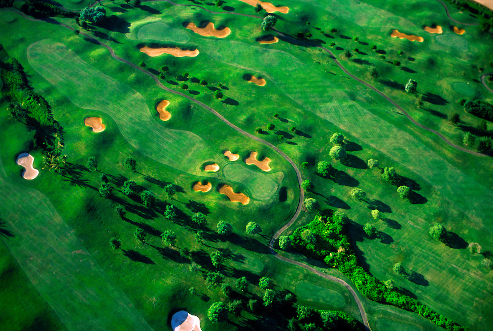 Aerial of golf course, Kaua'i, Hawaii