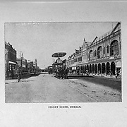 Street Scene Durban from the book ' Boer and Britisher in South Africa; a history of the Boer-British war and the wars for United South Africa, together with biographies of the great men who made the history of South Africa ' By Neville, John Ormond Published by Thompson & Thomas, Chicago, USA in 1900