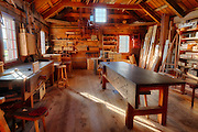 USA, Washington, Fort Vancouver National Historic Site, wood shop. Digital Composite, HDR.
