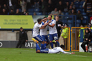 Hallam Hope of Bury (r) celebrates with his teammates after scoring his teams 4th goal. EFL Skybet football league one match, Bury v Port Vale at Gigg Lane in Bury ,Lancs on Saturday 3rd September 2016.<br /> pic by Chris Stading, Andrew Orchard sports photography.