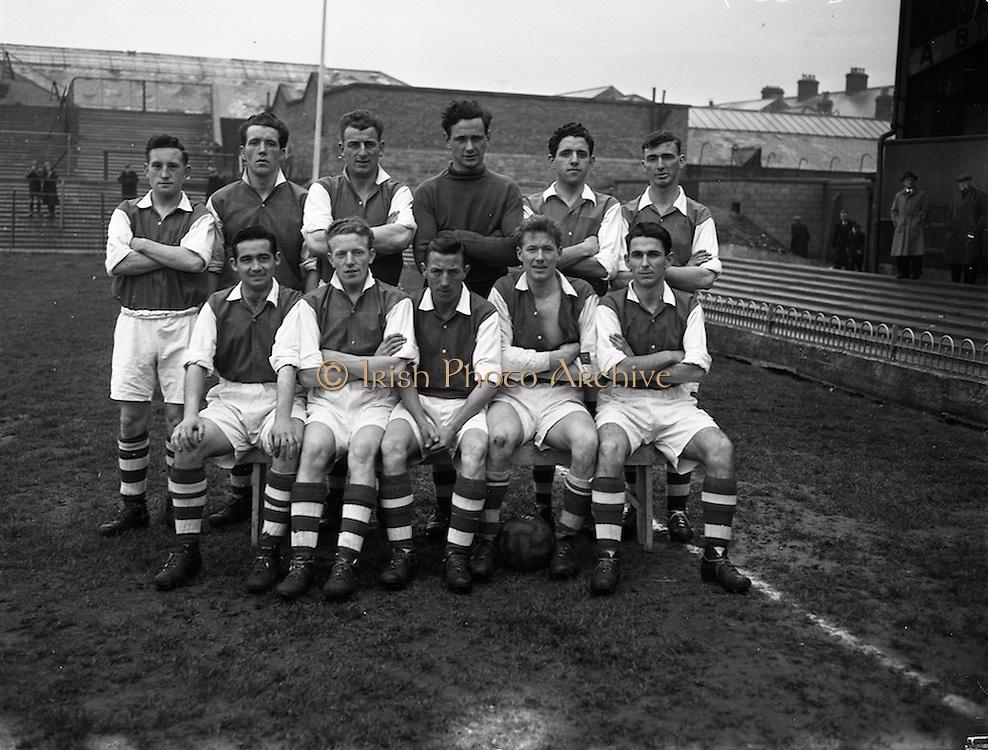 13/04/1956<br /> 04/13/1956<br /> 13 April 1956<br /> Soccer: St Patrick's Athletic v Shamrock Rovers at Dalymount Park, Dublin. The St Patrick's Athletic Team.