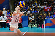 BANGKOK, THAILAND - MAY 31: Kimberly Hill #15 of USA in action on Day 3 match between Thailand vs USA at the FIVB Volleyball Nation League 2018, Indoor Stadium Huamark, Bangkok, Thailand on May 31, 2018. <br /> .<br /> .<br /> .<br /> (Photo by: Naratip Golf Srisupab/SEALs Sports Images)<br /> .<br /> Any image use must include a mandatory credit line adjacent to the content which should read: Naratip Golf Srisupab/SEALs Sports Images