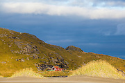 A lone cabin framed by small sand dunes on Bunes Beach, Moskenesoya, Lofoten Islands, Norway.