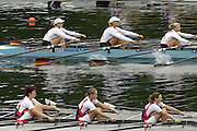 2006 FISA World Cup, Lucerne, SWITZERLAND, 07.07.2006. Women's Quadruple Sculls. GER W4X bow,  and CZE W4X  Photo  Peter Spurrier/Intersport Images email images@intersport-images.com.[Friday Morning]....[Mandatory Credit Peter Spurrier/Intersport Images... Rowing Course, Lake Rottsee, Lucerne, SWITZERLAND.