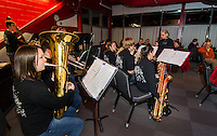 The LHS Jazz Band entertains with Christmas carols as student serve a full spaghetti dinner in the Huot dining room on Tuesday evening.  (Karen Bobotas/for the Laconia Daily Sun)