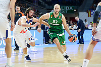 Real Madrid's player Sergio Llull and Panathinaikos's player Nick Calathes during match of Turkish Airlines Euroleague at Barclaycard Center in Madrid. November 16, Spain. 2016. (ALTERPHOTOS/BorjaB.Hojas)