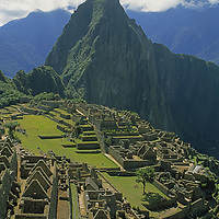Machu Picchu, an Inca ruin below Mount Huayna Picchu.