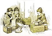 Japanese Girls, Writing, Sewing, and Reading from the book ' Rambles in Japan : the land of the rising sun ' by Tristram, H. B. (Henry Baker), 1822-1906. Publication date 1895. Publisher New York : Revell
