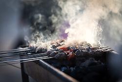 12 April 2019, Jerusalem: Smoke rises as grilled food is prepared near Damascus Gate in Jerusalem.