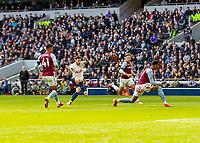 Football - 2021 / 2022 Premier League - Tottenham Hotspur vs Aston Villa - Tottenham Hotspur Stadium - Sunday 3rd October 2021<br /> <br /> Pierre-Emile Hojbjerg (Tottenham Hotspur) places the ball to score the opening goal of the game <br /> <br /> COLORSPORT/DANIEL BEARHAM