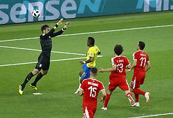 June 27, 2018 - Moscow, Russia - Group E Serbia v Brazil - FIFA World Cup Russia 2018.Paulinho (Brazil) scoring the goal of 0-1 at Spartak Stadium in Moscow, Russia on June 27, 2018. (Credit Image: © Matteo Ciambelli/NurPhoto via ZUMA Press)