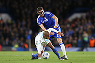 Nemanja Matic of Chelsea tackles Yacine Brahimi of FC Porto. UEFA Champions league group G match, Chelsea v Porto at Stamford Bridge in London on Wednesday 9th December 2015.<br /> pic by John Patrick Fletcher, Andrew Orchard sports photography.