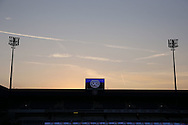 a General view of School End Stand as the sun sets on one of the hottest days of the year, EFL Skybet football league championship match, Queens Park Rangers v Newcastle Utd at Loftus Road Stadium in London on Tuesday 13th September 2016.<br /> pic by John Patrick Fletcher, Andrew Orchard sports photography.