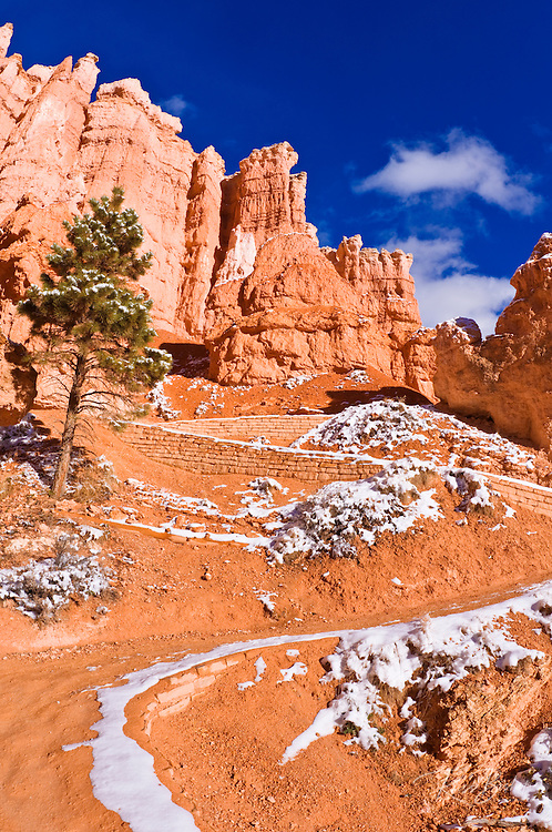 Switchbacks and rock formations along the Queens Garden Trail, Bryce Canyon National Park, Utah