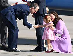 The Duke and Duchess of Cambridge, Prince George and Princess Charlotte depart Germany from Hamburg Airport, at the end of their tour of Germany, on the 21st July 2017. 21 Jul 2017 Pictured: Catherine, Duchess of Cambridge, Kate Middleton, Princess Charlotte. Photo credit: James Whatling / MEGA TheMegaAgency.com +1 888 505 6342