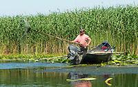 Traditional fisherman, Danube Delta, Romania.
