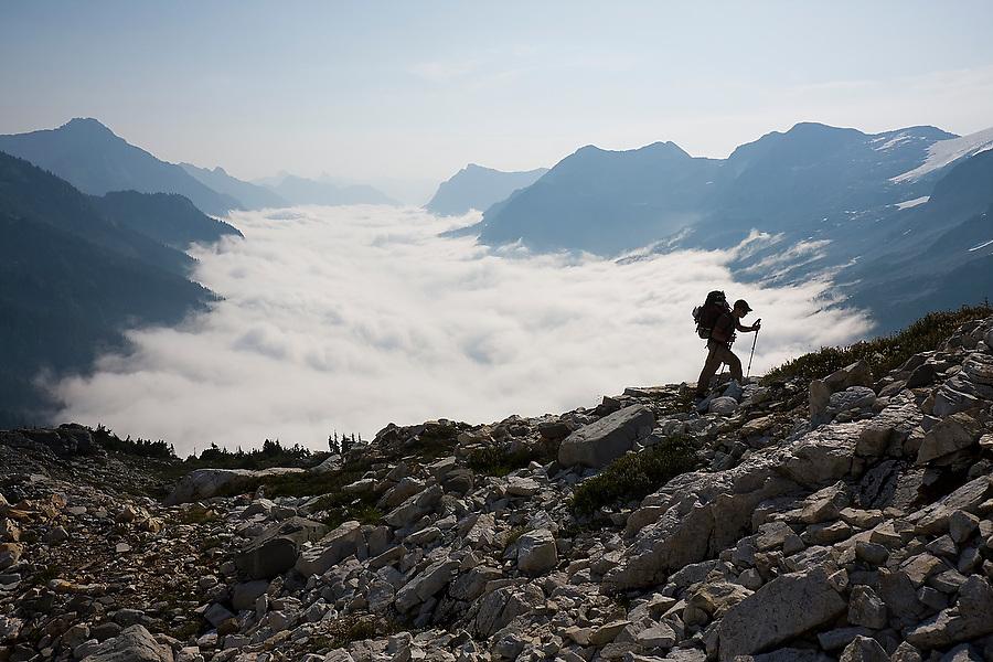 Jim Prager hikes up the steep slopes of Whatcom Peak in North Cascades National Park, Washington.