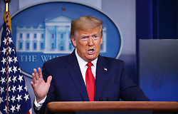 President Donald Trump delivers remarks on the COVID-19 pandemic at the White House in Washington, D.C. on Saturday, April 18, 2020. Photo by Tasos Katopodis/Pool/ABACAPRESS.COM