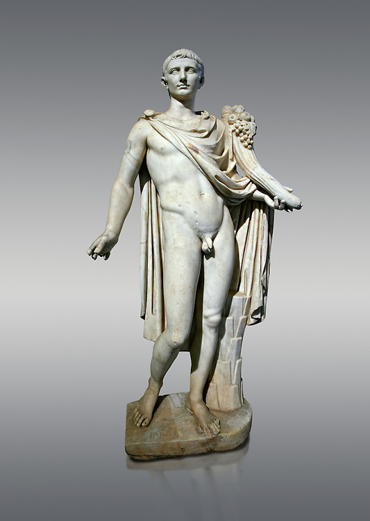 Roman marble sculpture of a male figure restored as Augustus 2nd century AD, inv no 6053,Naples Museum of Archaeology, Italy.<br /> <br /> If you prefer to buy from our ALAMY STOCK LIBRARY page at https://www.alamy.com/portfolio/paul-williams-funkystock/greco-roman-sculptures.html . Type -    Naples    - into LOWER SEARCH WITHIN GALLERY box - Refine search by adding a subject, place, background colour, etc.<br /> <br /> Visit our ROMAN WORLD PHOTO COLLECTIONS for more photos to download or buy as wall art prints https://funkystock.photoshelter.com/gallery-collection/The-Romans-Art-Artefacts-Antiquities-Historic-Sites-Pictures-Images/C0000r2uLJJo9_s0