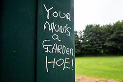 Ecclesfield Park Bandstand Graffiti <br /> Your Mum's a Garden Hoe!<br /> with correct puntuation<br /> <br /> 13th August 2020<br /> <br /> www.pauldaviddrabble.co.uk<br /> All Images Copyright Paul David Drabble - <br /> All rights Reserved - <br /> Moral Rights Asserted -