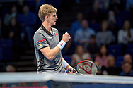 Kevin Anderson of South Africa fist pumps in celebration after winning his match against Kei Nishikori of Japan during the Nitto ATP World Tour Finals at the O2 Arena, London, United Kingdom on 13 November 2018.Photo by Martin Cole