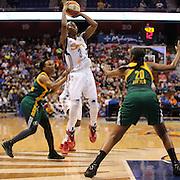 Allison Hightower, Connecticut Sun, shoots during the Connecticut Sun Vs Seattle Storm WNBA regular season game at Mohegan Sun Arena, Uncasville, Connecticut, USA. 23rd May 2014. Photo Tim Clayton