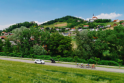 Leading group and a general view of Gradiska and church Saint Kungota during 1st Stage of 27th Tour of Slovenia 2021 cycling race between Ptuj and Rogaska Slatina (151,5 km), on June 9, 2021 in Slovenia. Photo by Matic Klansek Velej / Sportida