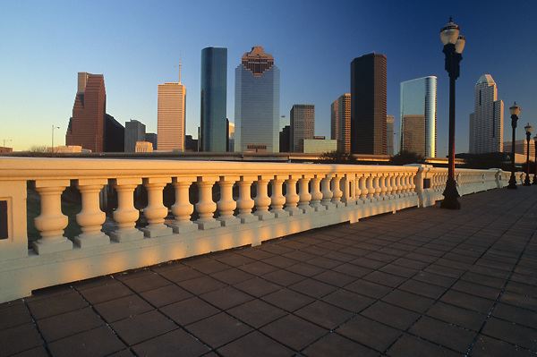 Stock photo of the downtown skyline from the Sabine Street bridge
