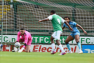 Luke McGee (1) of Forest Green Rovers makes a save during the Pre-Season Friendly match between Yeovil Town and Forest Green Rovers at Huish Park, Yeovil, England on 31 July 2021.