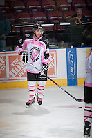 KELOWNA, CANADA - OCTOBER 20:  Dylen McKinlay #19 of the Kelowna Rockets warms up on the ice against the  Brandon Wheat Kings at the Kelowna Rockets on October 20, 2012 at Prospera Place in Kelowna, British Columbia, Canada (Photo by Marissa Baecker/Shoot the Breeze) *** Local Caption ***