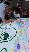 Arabic Immersion Magnet School students wrote their names in Arabic for their art car.