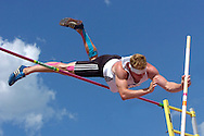 Germany's Arthur Abele cleared the bar at 4.35 meters in the pole vault and finished first in overall points in the decathlon, at the Nike Combined Events Challenge at the R.V. Christian Track Complex on the campus of Kansas State University in Manhattan, Kansas, August 6, 2006.